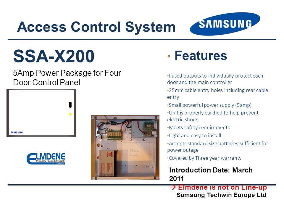 SSA-X200 Access Control System Features