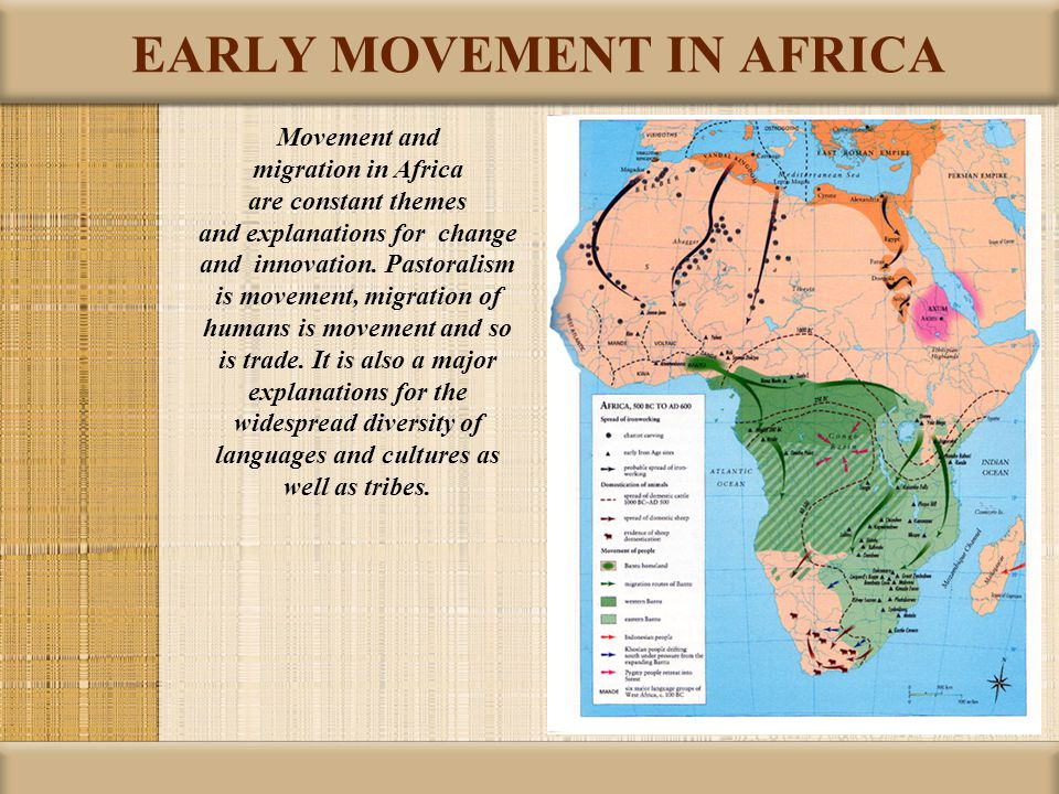 EARLY MOVEMENT IN AFRICA