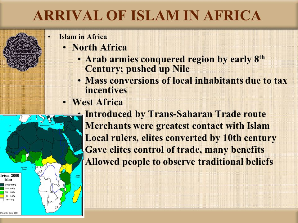 ARRIVAL OF ISLAM IN AFRICA