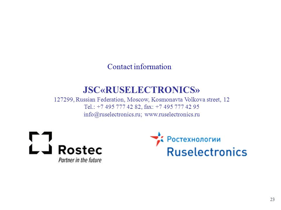 info@ruselectronics.ru; www.ruselectronics.ru