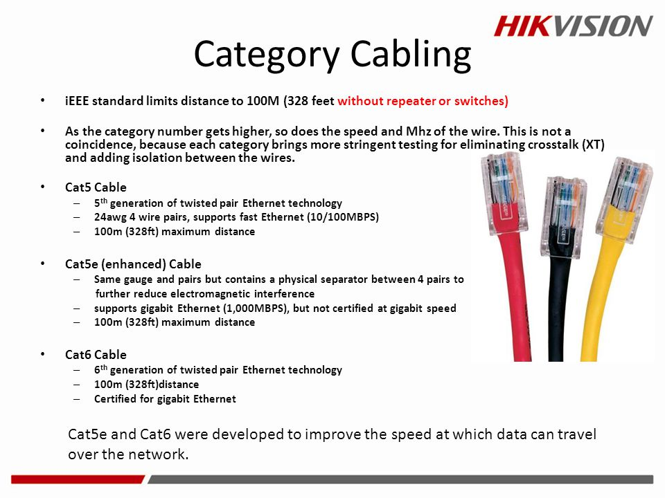 Category Cabling iEEE standard limits distance to 100M (328 feet without repeater or switches)