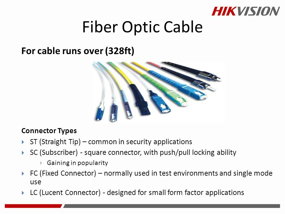 Fiber Optic Cable For cable runs over (328ft) Connector Types