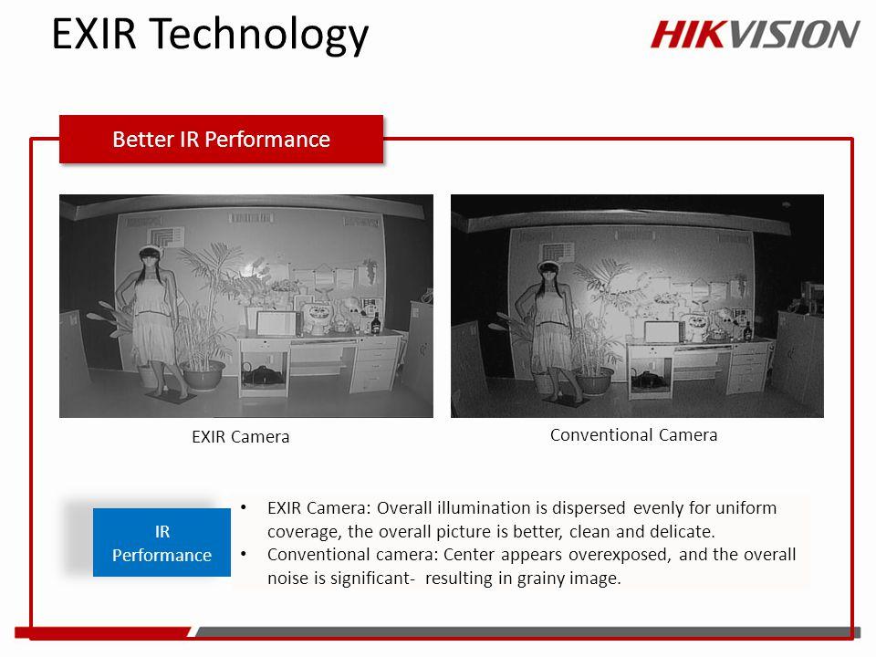 EXIR Technology Better IR Performance EXIR Camera Conventional Camera