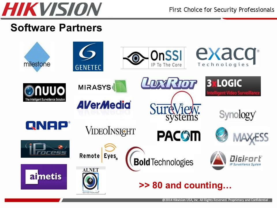 Software Partners >> 80 and counting…