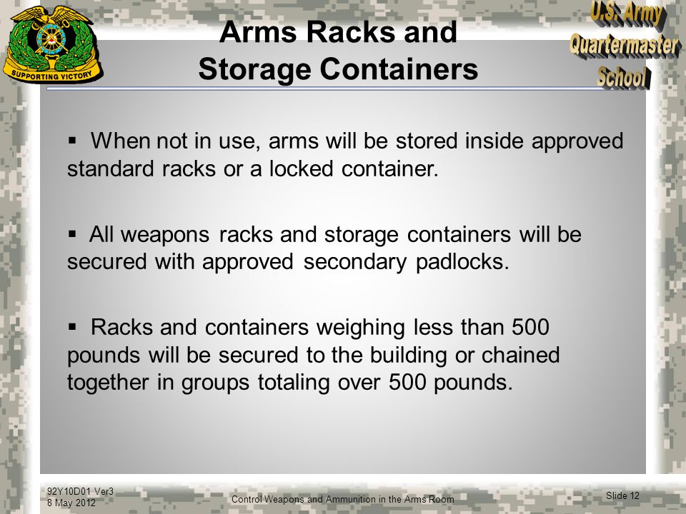 Arms Racks and Storage Containers