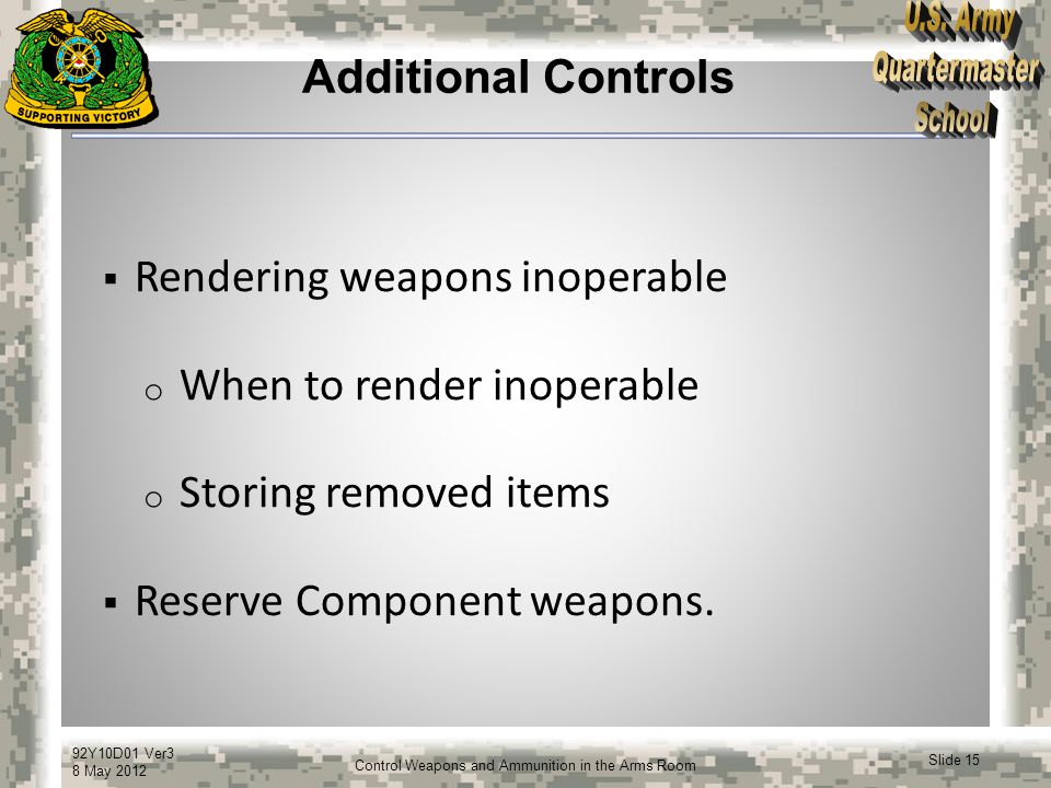 Additional Controls Rendering weapons inoperable