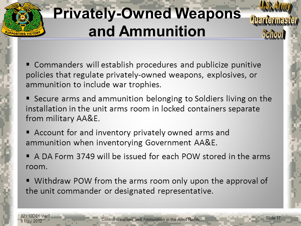 Privately-Owned Weapons and Ammunition
