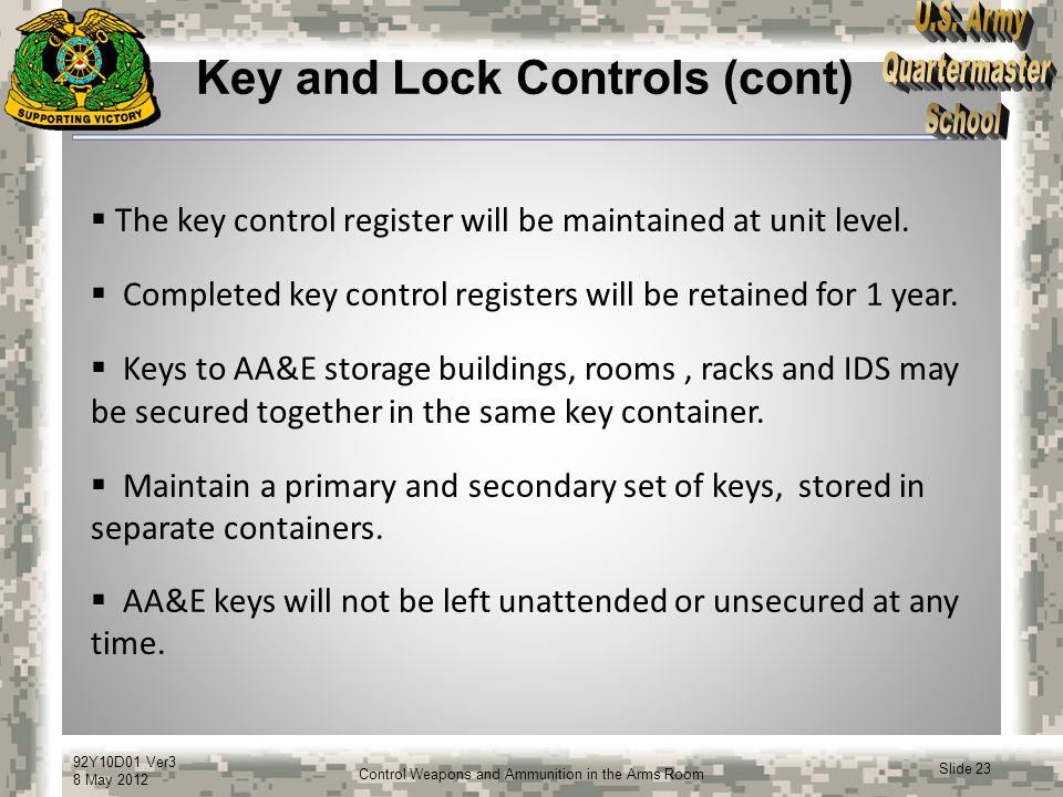 Key and Lock Controls (cont)