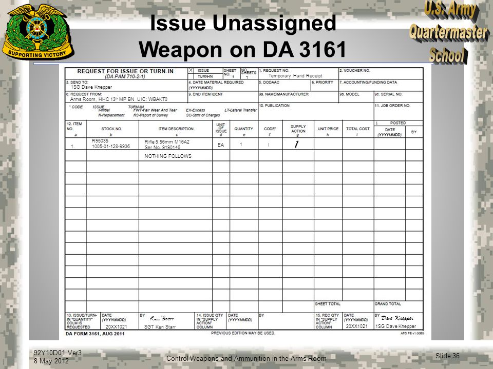 Issue Unassigned Weapon on DA 3161