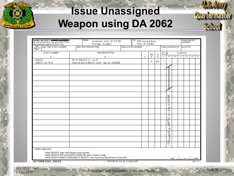 Issue Unassigned Weapon using DA 2062