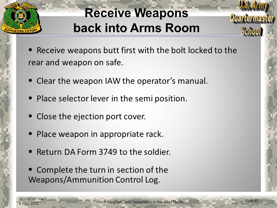 Receive Weapons back into Arms Room
