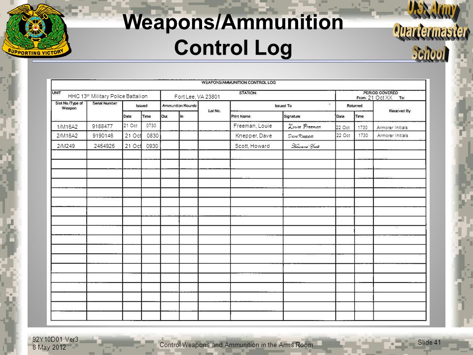 Weapons/Ammunition Control Log