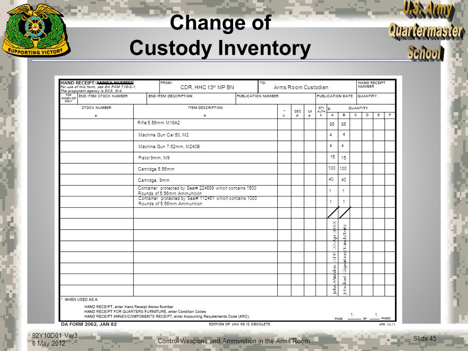 Change of Custody Inventory