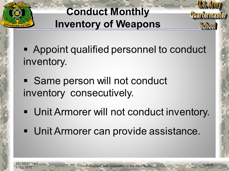 Conduct Monthly Inventory of Weapons