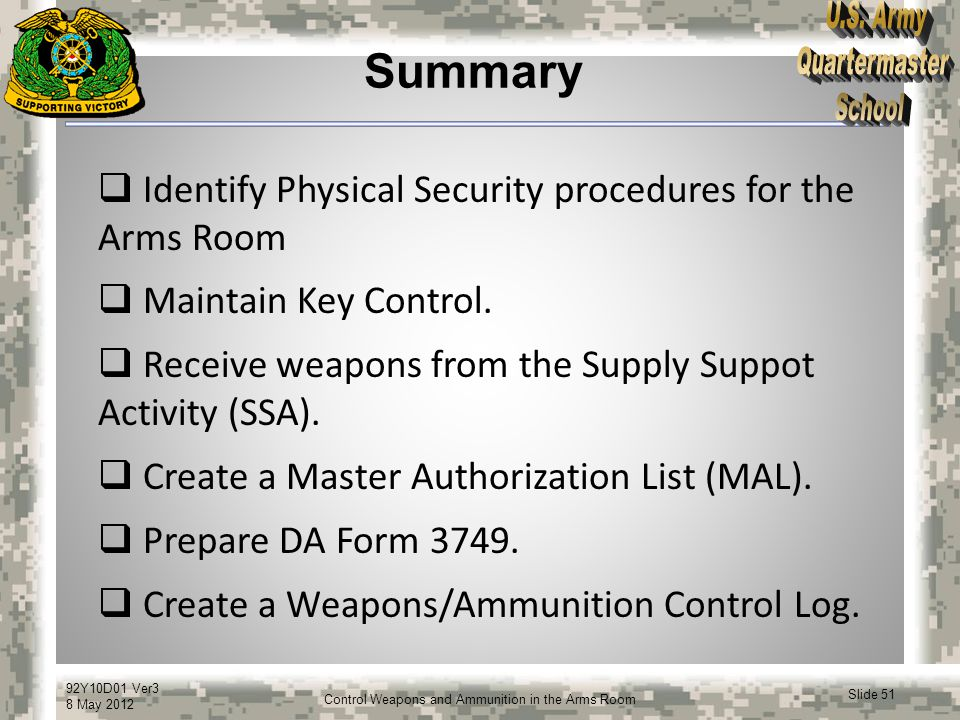Summary Identify Physical Security procedures for the Arms Room