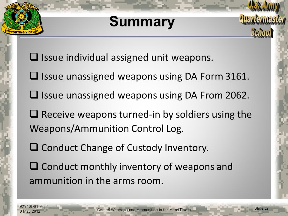 Summary Issue individual assigned unit weapons.