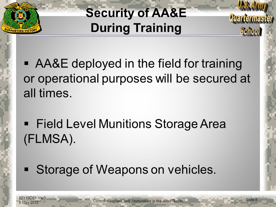 Security of AA&E During Training