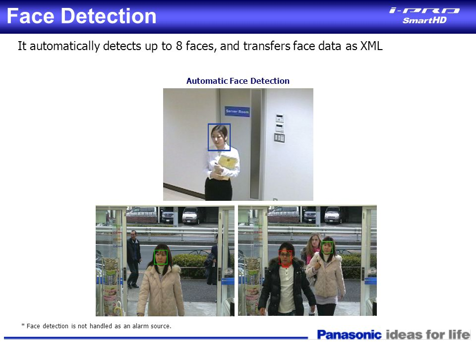 Face Detection It automatically detects up to 8 faces, and transfers face data as XML. Automatic Face Detection.