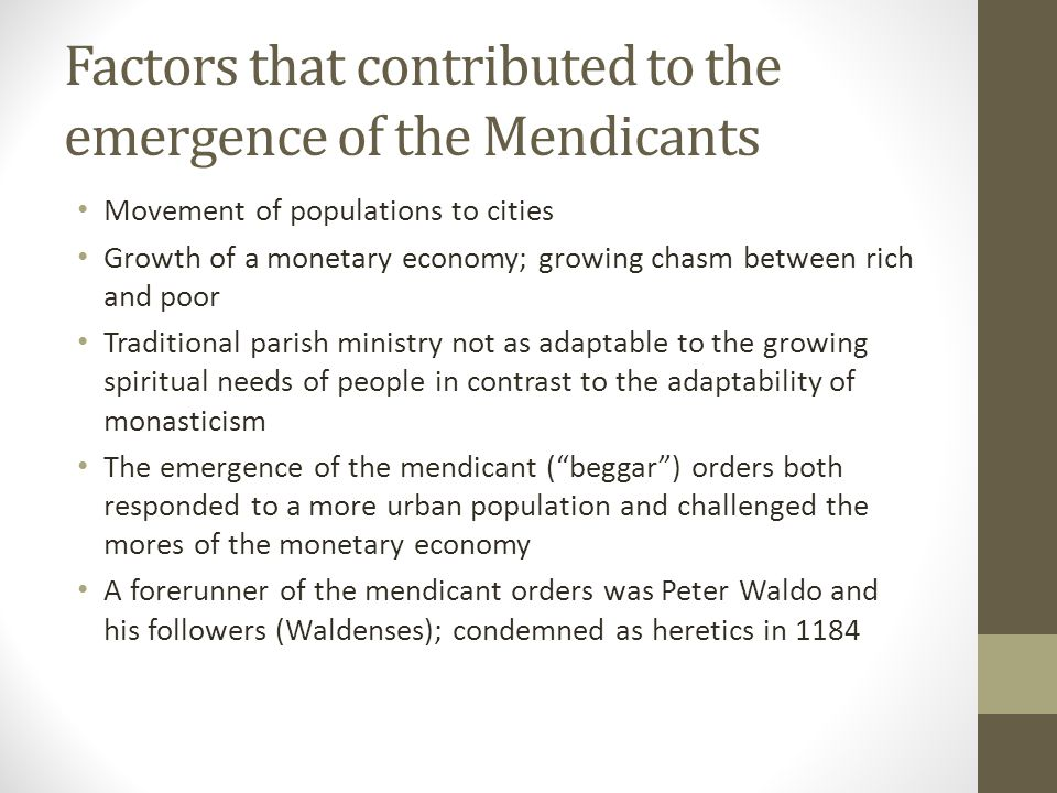Factors that contributed to the emergence of the Mendicants