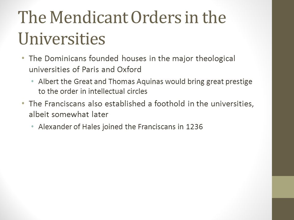 The Mendicant Orders in the Universities