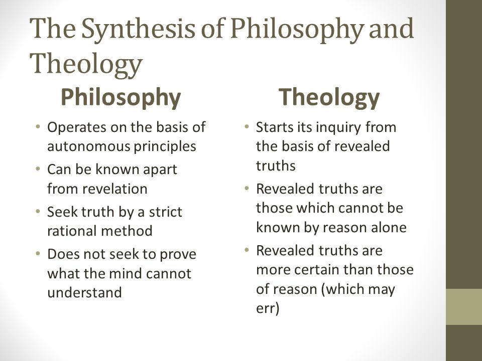 The Synthesis of Philosophy and Theology