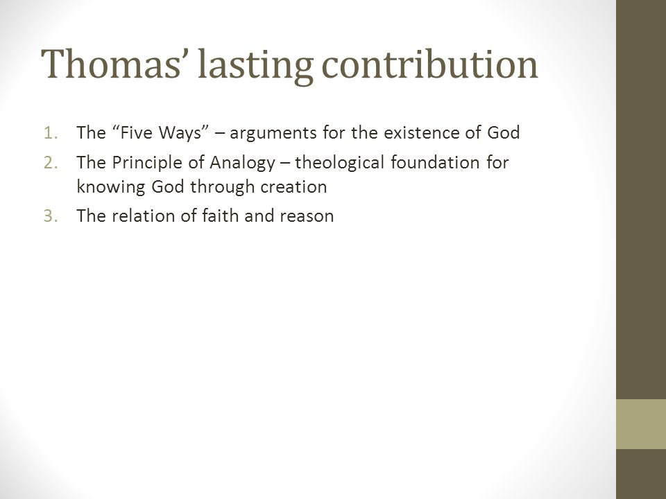 Thomas' lasting contribution