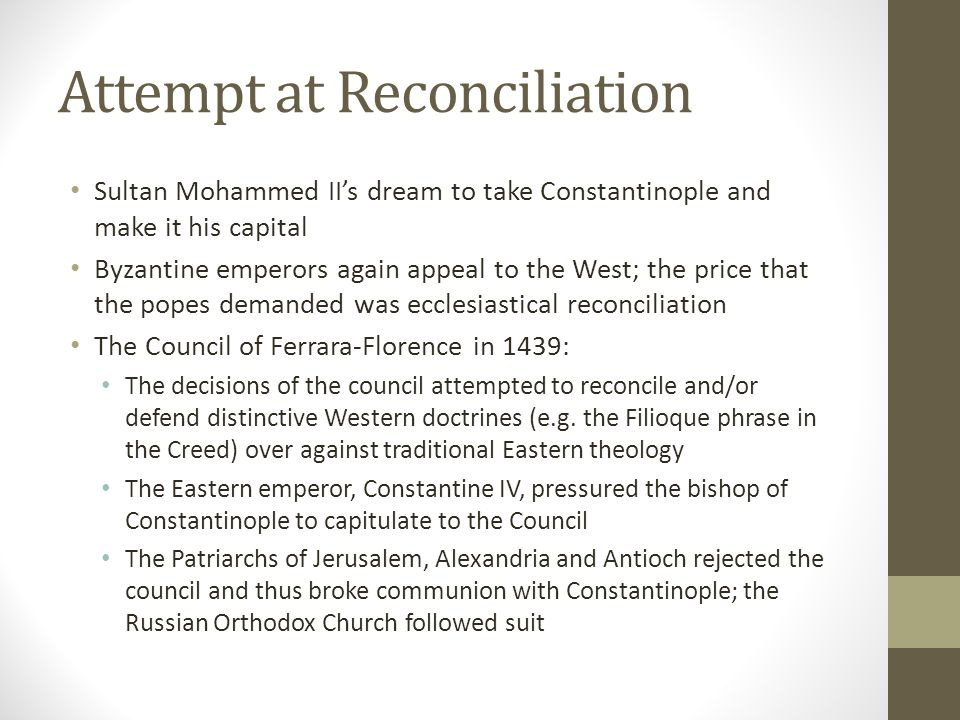 Attempt at Reconciliation