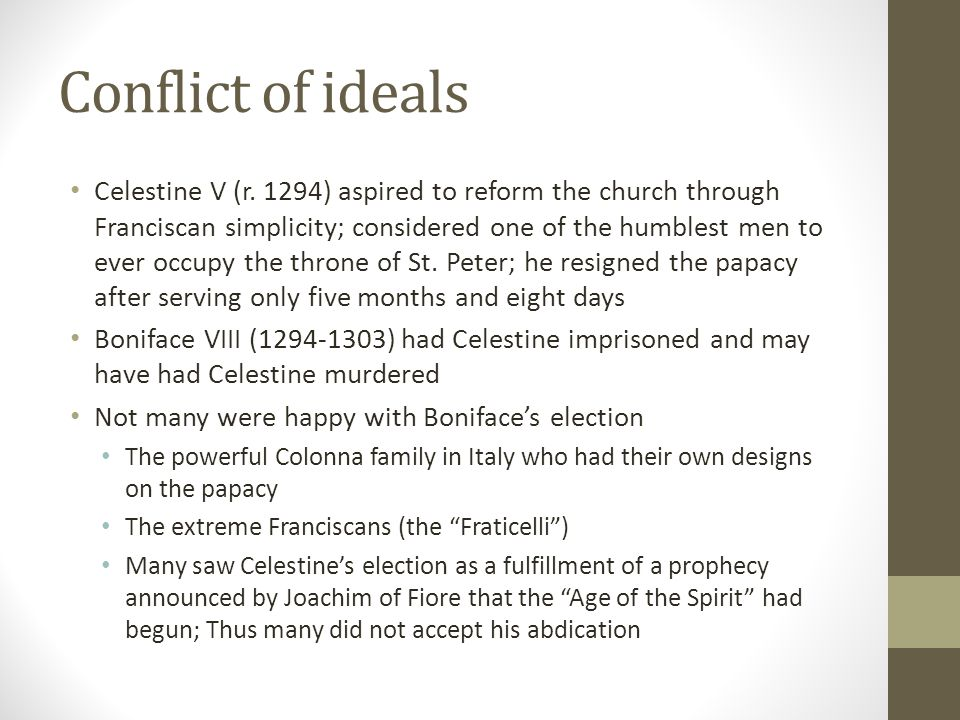Conflict of ideals