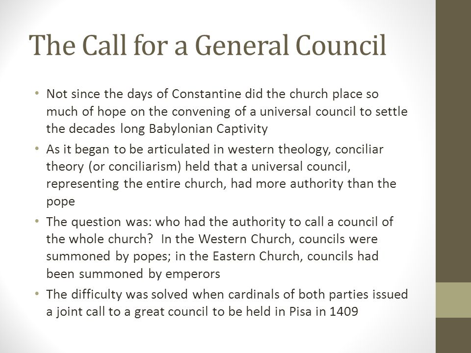 The Call for a General Council