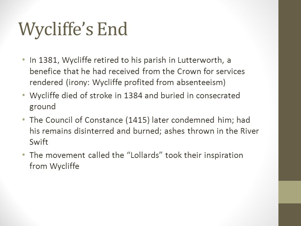 Wycliffe's End