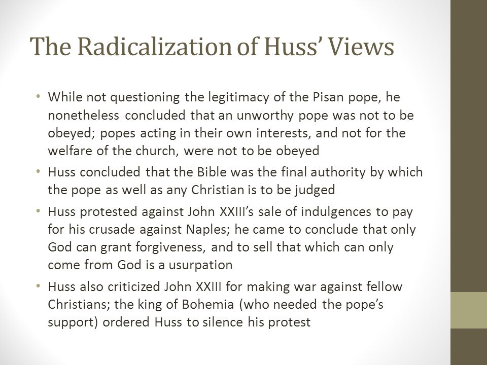 The Radicalization of Huss' Views