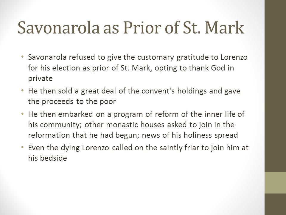 Savonarola as Prior of St. Mark