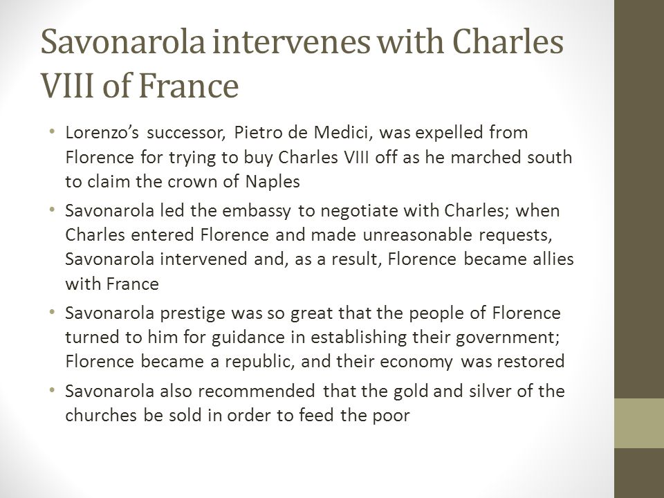 Savonarola intervenes with Charles VIII of France