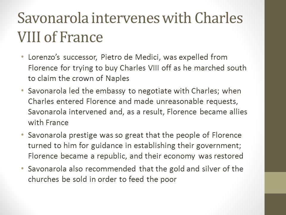 Savonarola intervenes with Charles VIII of France