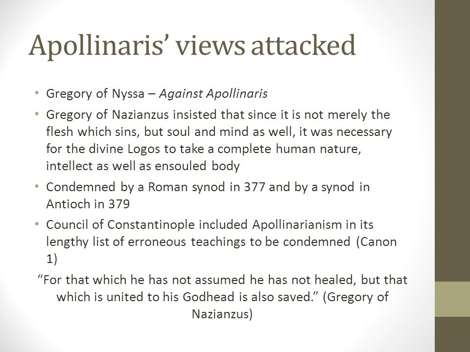 Apollinaris' views attacked