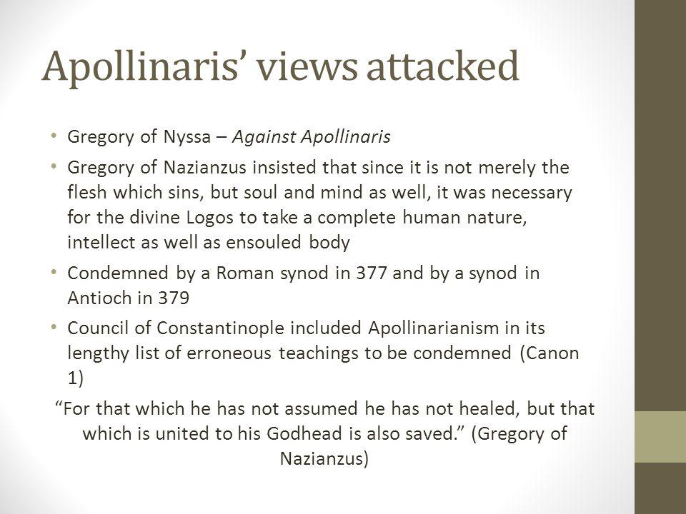 Apollinaris' views attacked