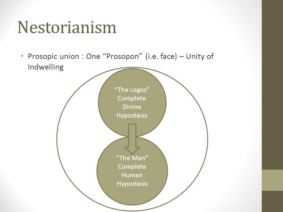 Nestorianism Prosopic union : One Prosopon (i.e. face) – Unity of Indwelling. The Logos Complete Divine Hypostasis.