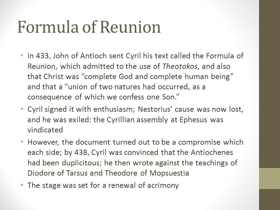 Formula of Reunion