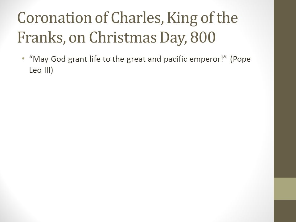 Coronation of Charles, King of the Franks, on Christmas Day, 800
