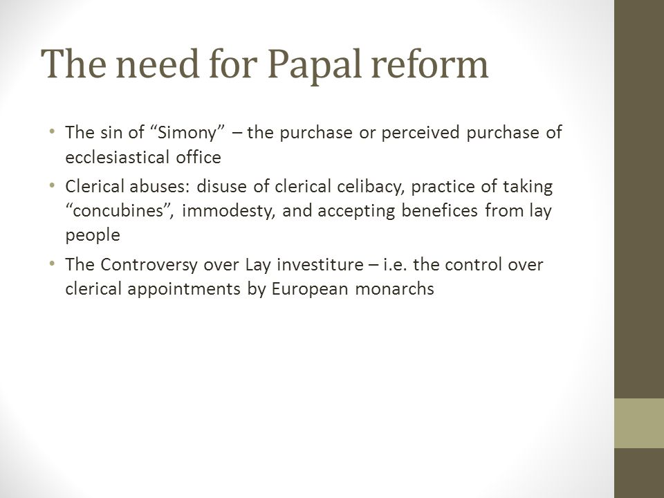 The need for Papal reform