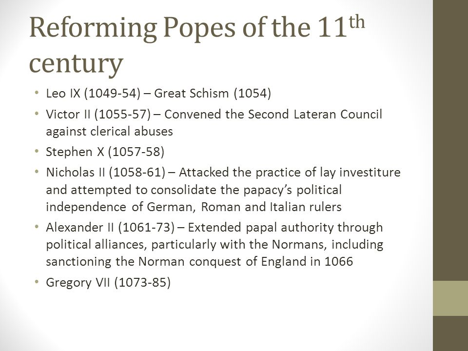 Reforming Popes of the 11th century