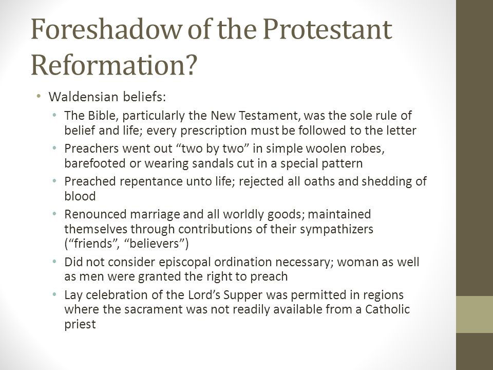 Foreshadow of the Protestant Reformation