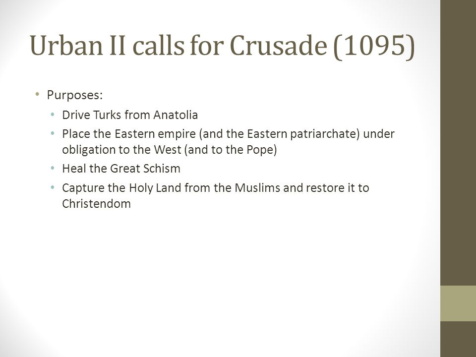 Urban II calls for Crusade (1095)