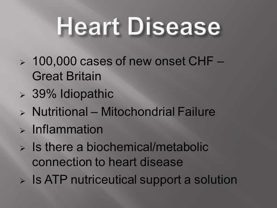 Heart Disease 100,000 cases of new onset CHF – Great Britain