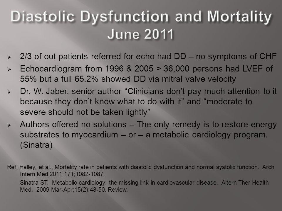 Diastolic Dysfunction and Mortality June 2011