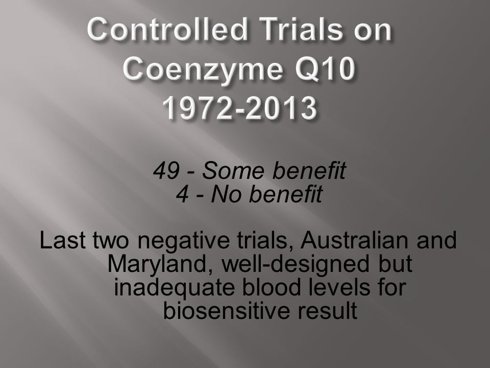 Controlled Trials on Coenzyme Q10 1972-2013