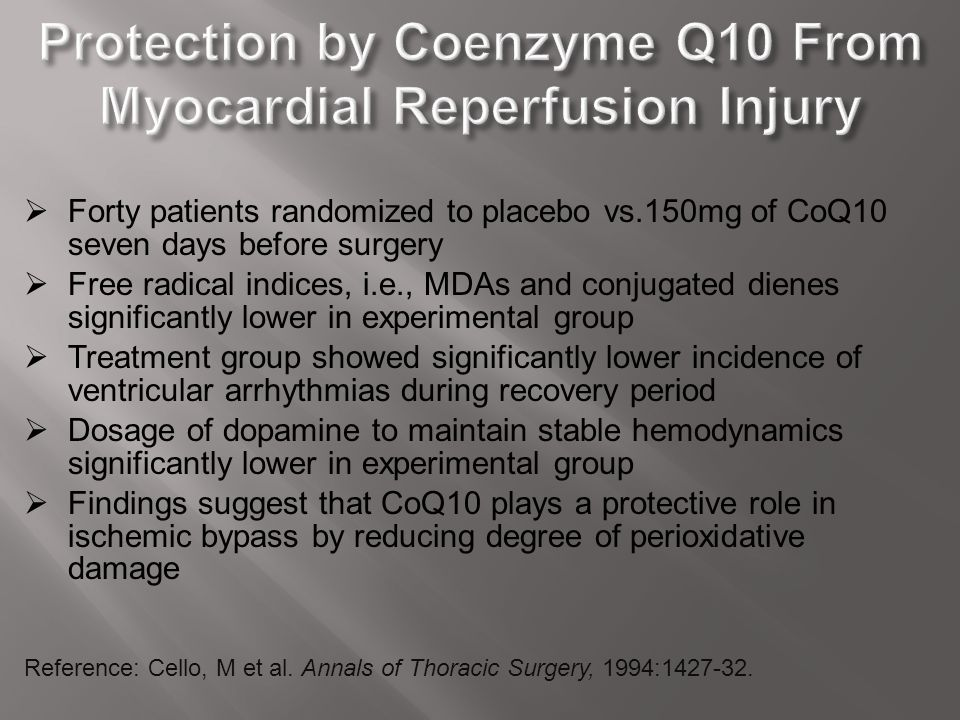 Protection by Coenzyme Q10 From Myocardial Reperfusion Injury