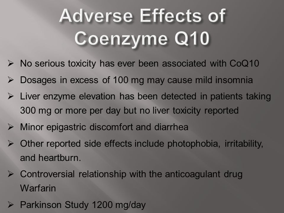 Adverse Effects of Coenzyme Q10