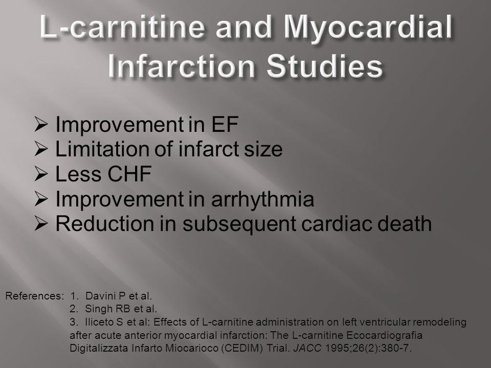 L-carnitine and Myocardial Infarction Studies