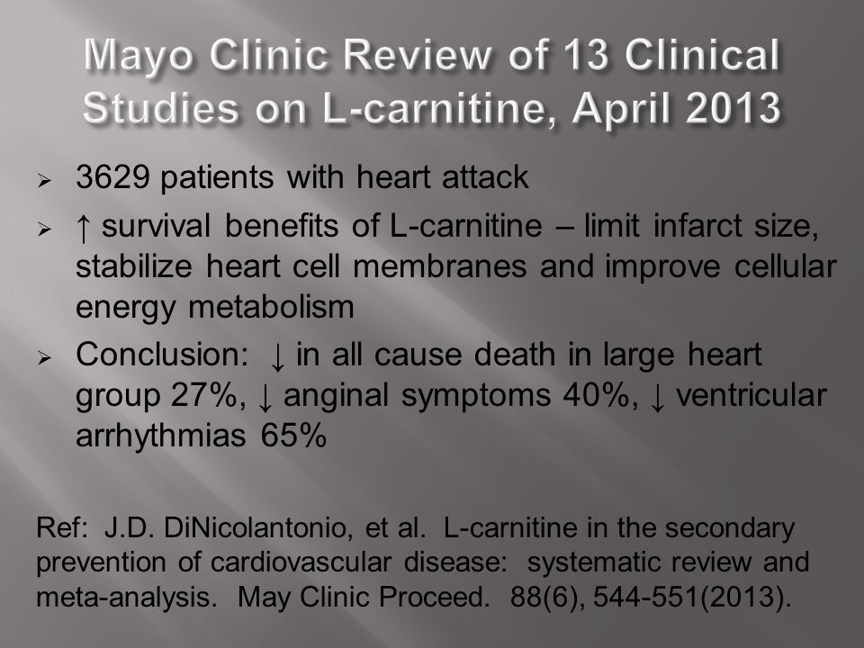 Mayo Clinic Review of 13 Clinical Studies on L-carnitine, April 2013